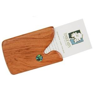 Pocket Business Card Holder - Paua Drop / Rimu