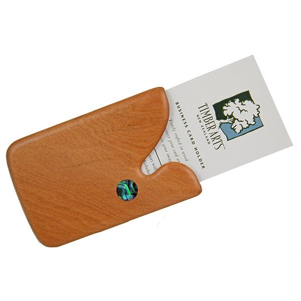 Pocket Business Card Holder Paua Drop Kauri Timber