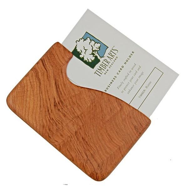 Pocket Business Card Holder Rimu Fish Hook Timber
