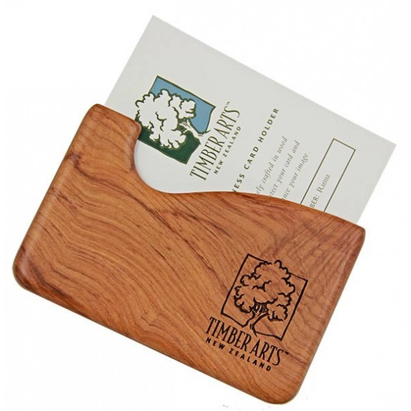 Pocket Business Card Holder Fish Hook Rimu Timber