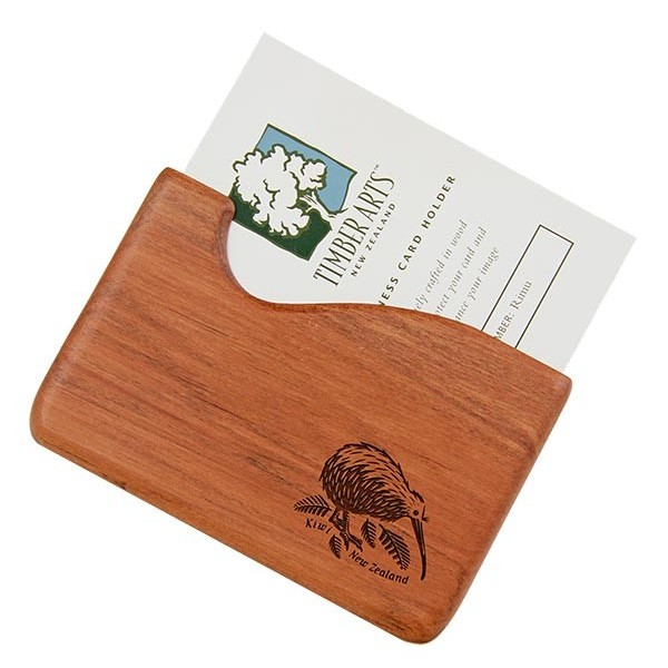 Pocket Business Card Holder Kiwi Rimu Fish Hook